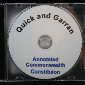Quick and Garran Annotated Constitution with index